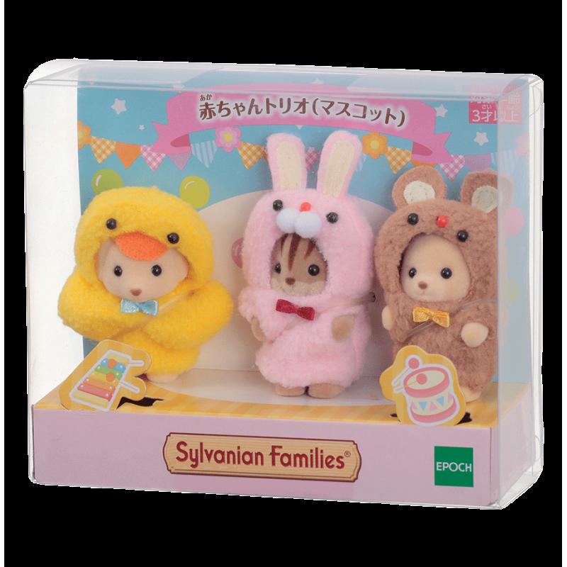 Le trio des bébés en costumes de mascottes Sylvanian Family