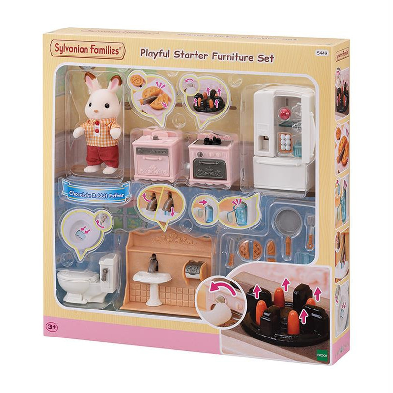 Le set d'ameublement pour cosy cottage et papa lapin chocolat Sylvanian Family